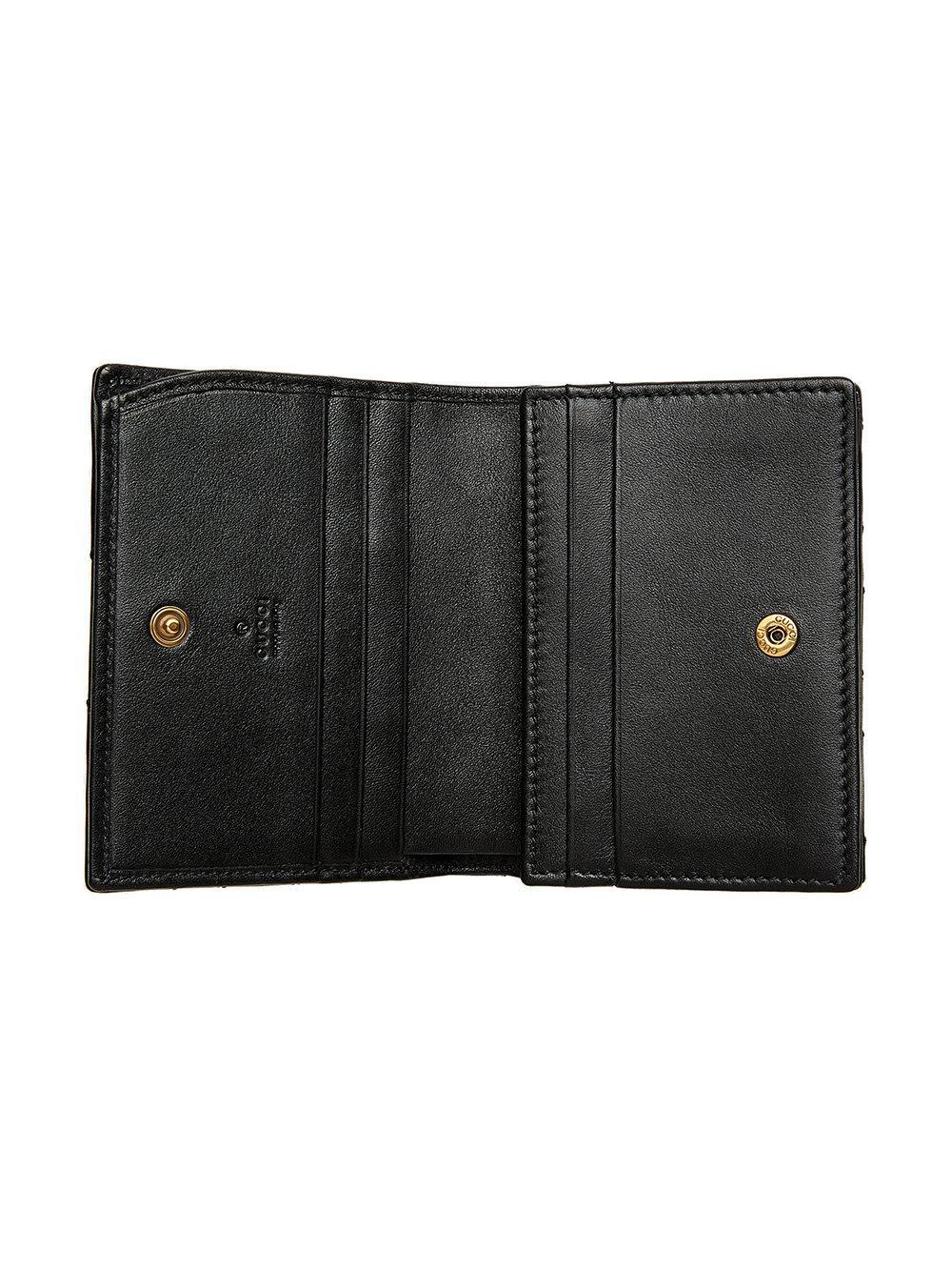 4f513710a365a4 Gucci Gg Marmont Cicada Stud Card Case in Black - Lyst