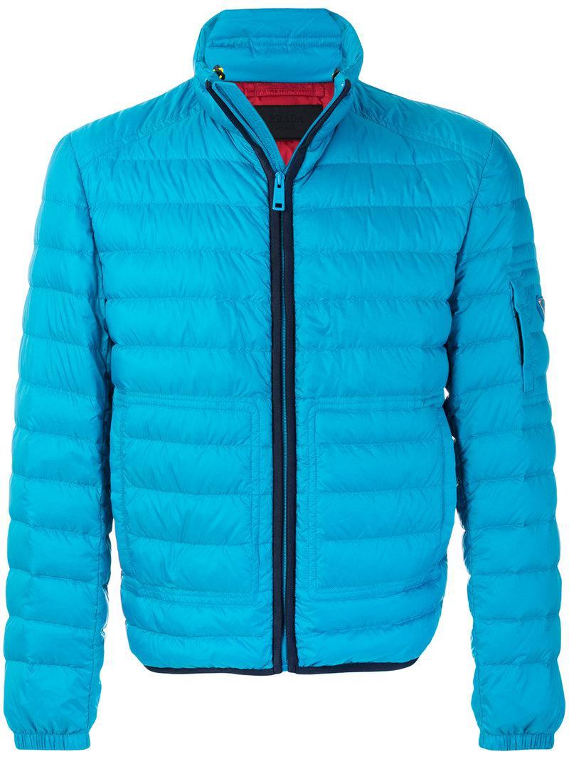 b50608c9d39c Lyst - Doudoune zippée à col montant Prada pour homme en coloris Bleu
