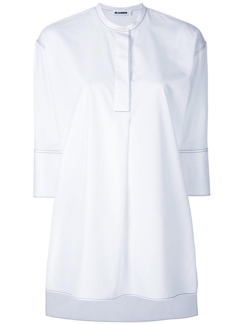 3e7c6ba9 Lyst - Jil Sander Topstitch Cropped Sleeve Collarless Shirt in White