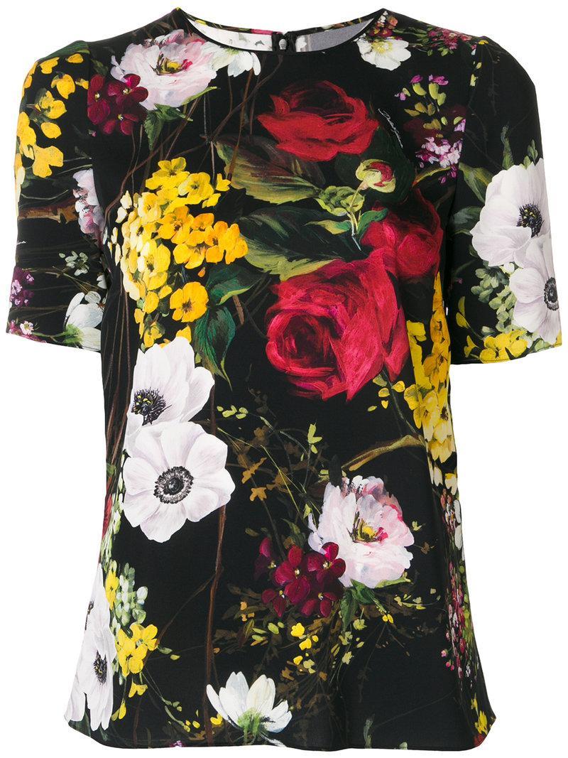 Lyst Dolce Gabbana Floral Print T Shirt In Black