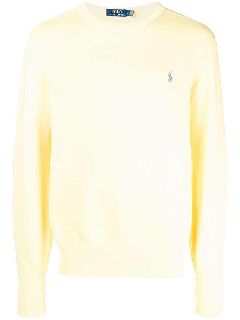 9ff27bfb0 Lyst - Polo Ralph Lauren Classic Crew Neck Sweater in Yellow for Men