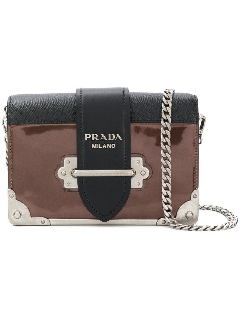 Lyst - Prada Cahier Shoulder Bag in Brown 7b29d796a89ec