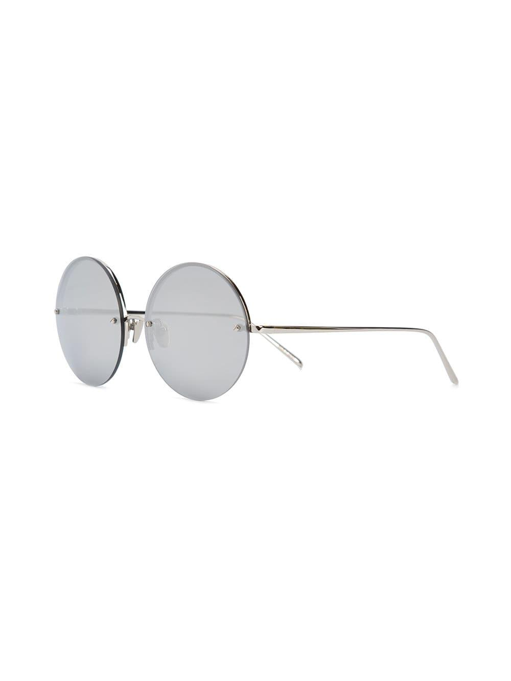 fc37e61c395c Lyst - Linda Farrow White Gold-plated Round Frame Sunglasses in Gray - Save  59.56482320942883%