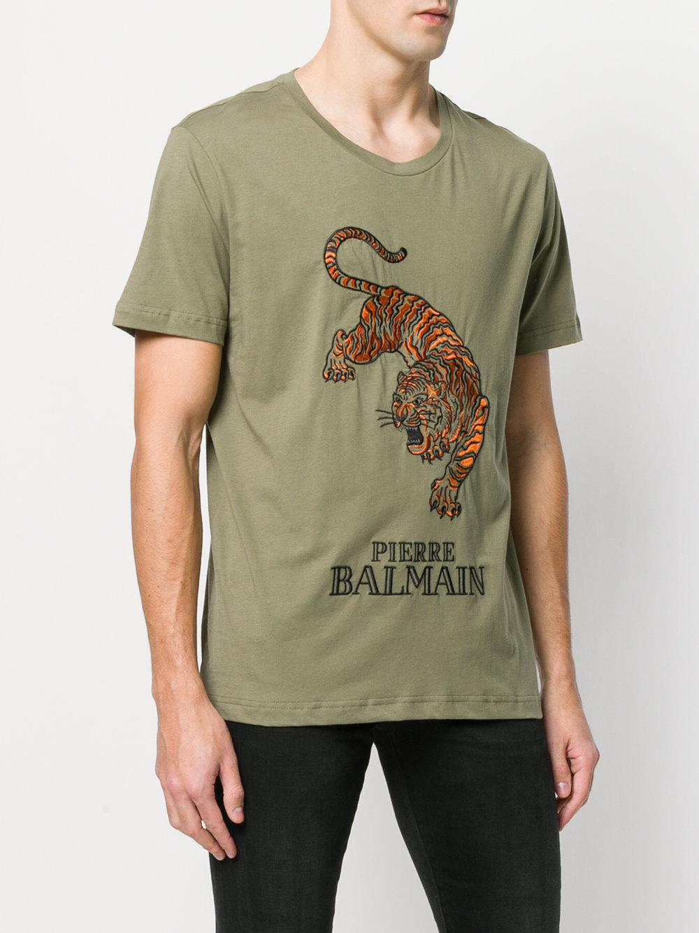 dba80a4d Balmain Tiger Logo T-shirt in Green for Men - Lyst