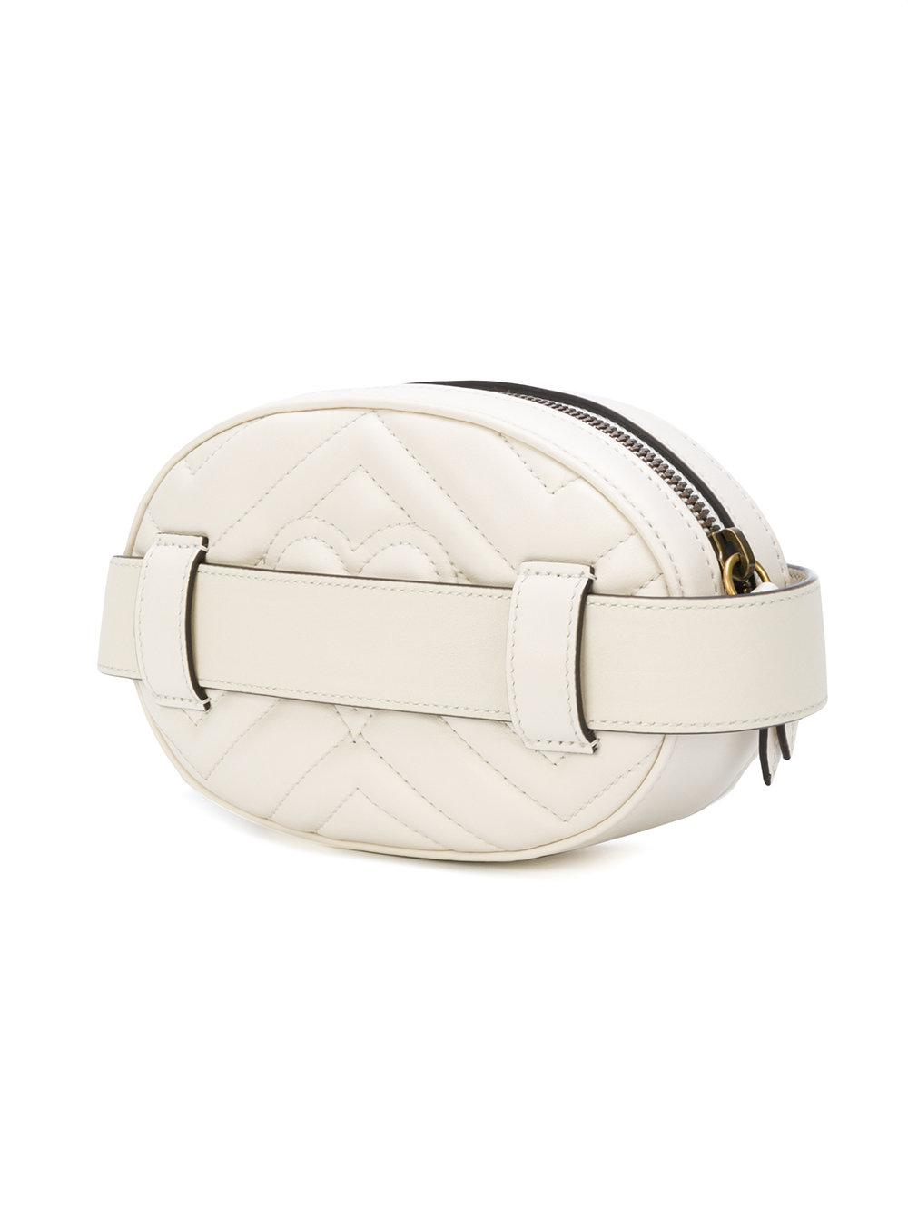 139e0b18f4d Lyst - Gucci Gg Marmont Belt Bag in White