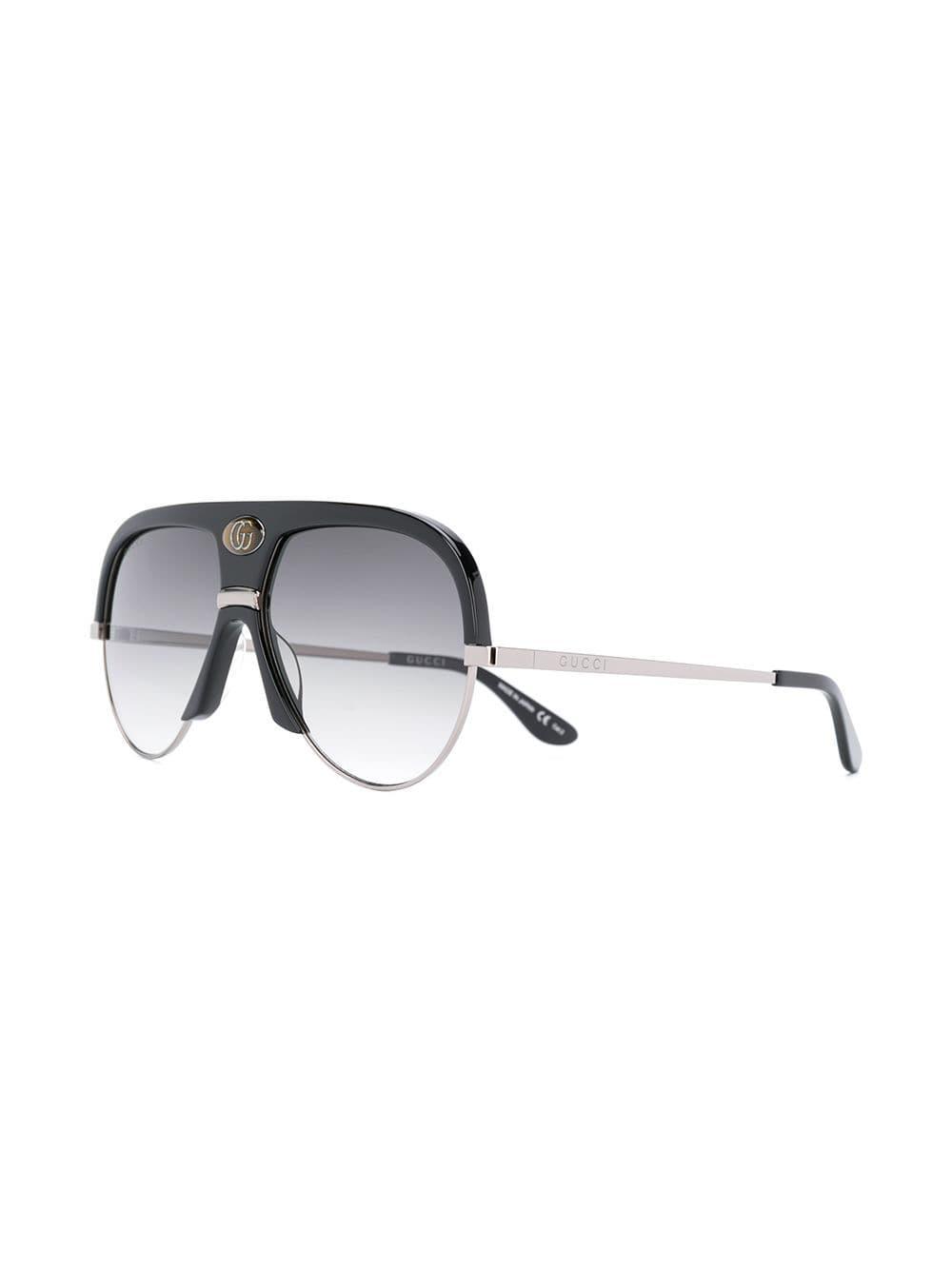 b53f4eeefb0 Gucci - Black Oversized Aviator Frame Sunglasses - Lyst. View fullscreen