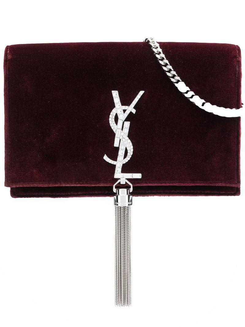 84086396b62 Lyst - Saint Laurent Kate Tassel Chain Bag in Red