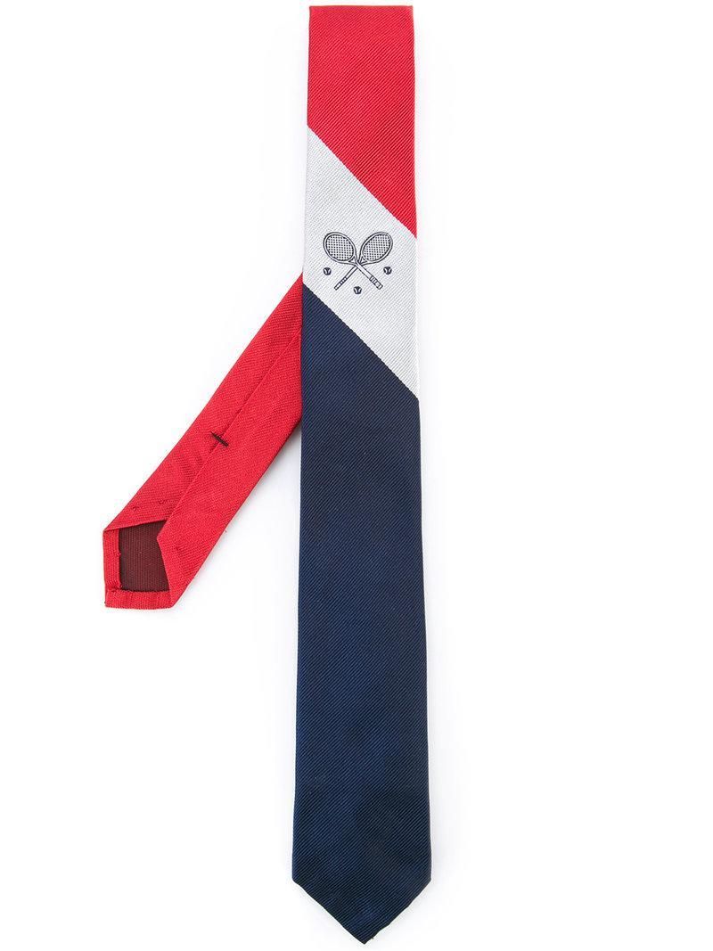Silk Necktie With Tennis Crest - Blue Thom Browne mSxJOE