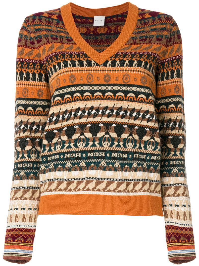 Paul smith V-neck Fair Isle Sweater | Lyst