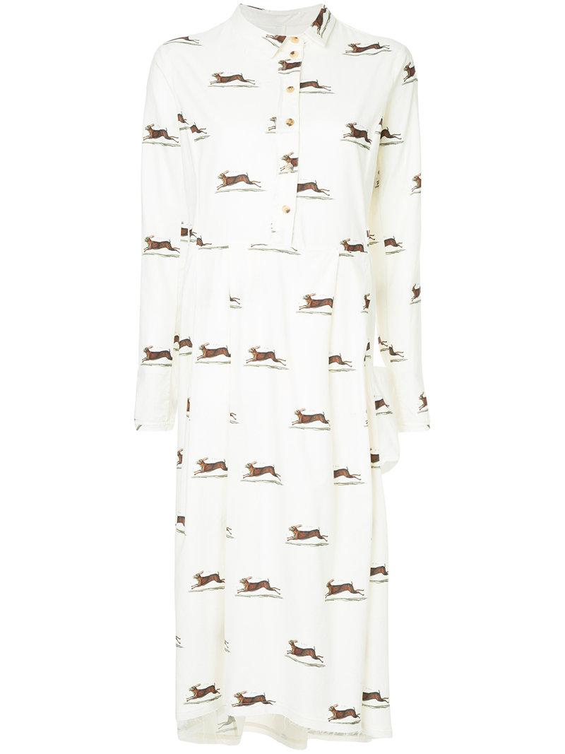 3c63488abb Lyst - Aleksandr Manamïs Hare Print Shirt Dress in White