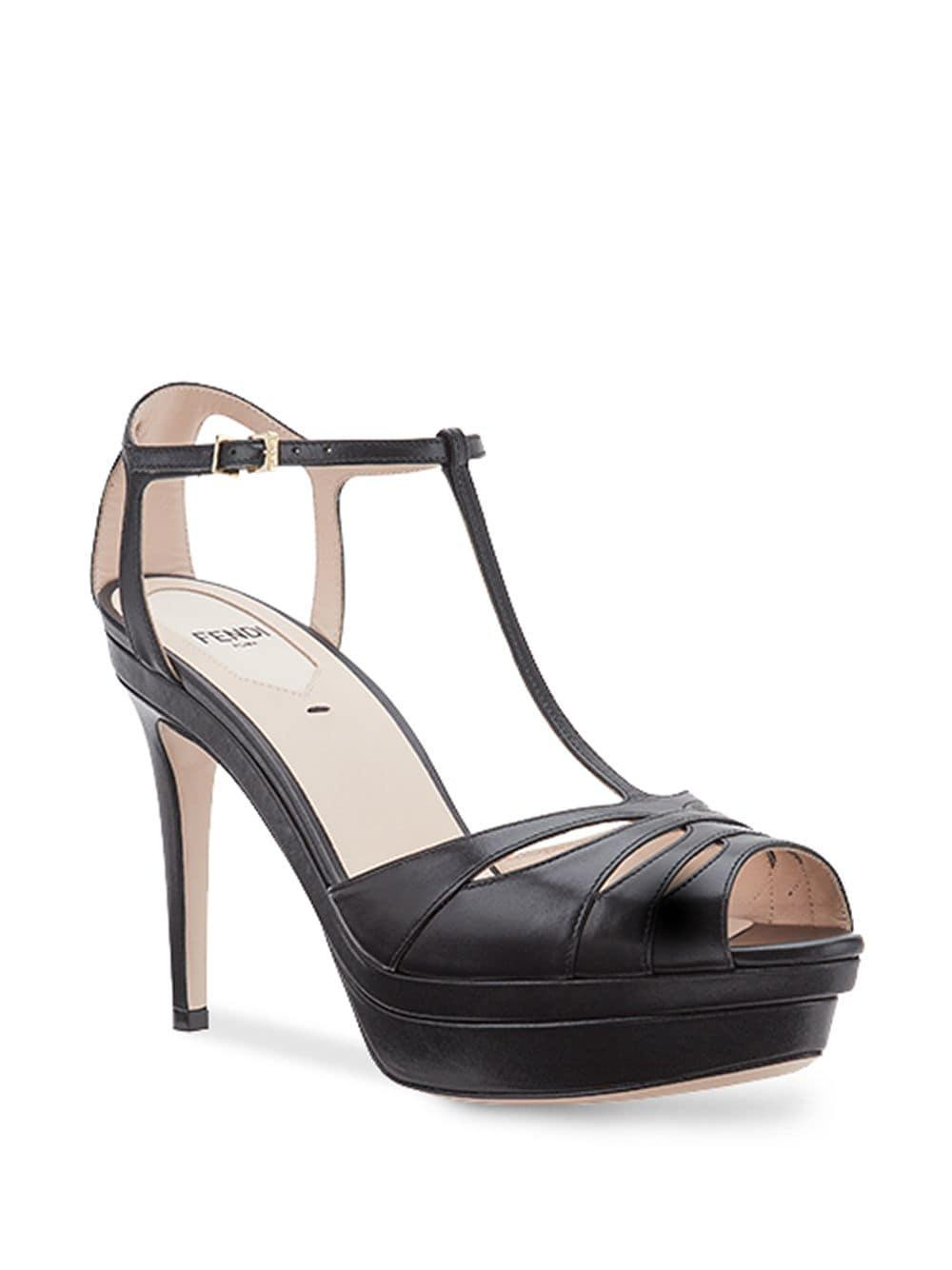 07ef32ce18e Lyst - Fendi T-bar Heeled Sandals in Black