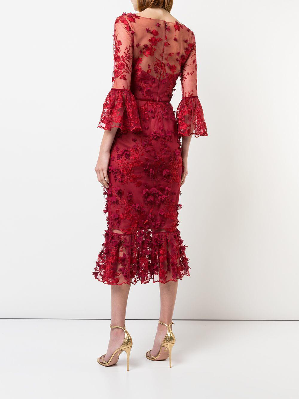 43df4feb50a Marchesa Notte 3 4 Sleeve Embroidered Midi Dress in Red - Lyst