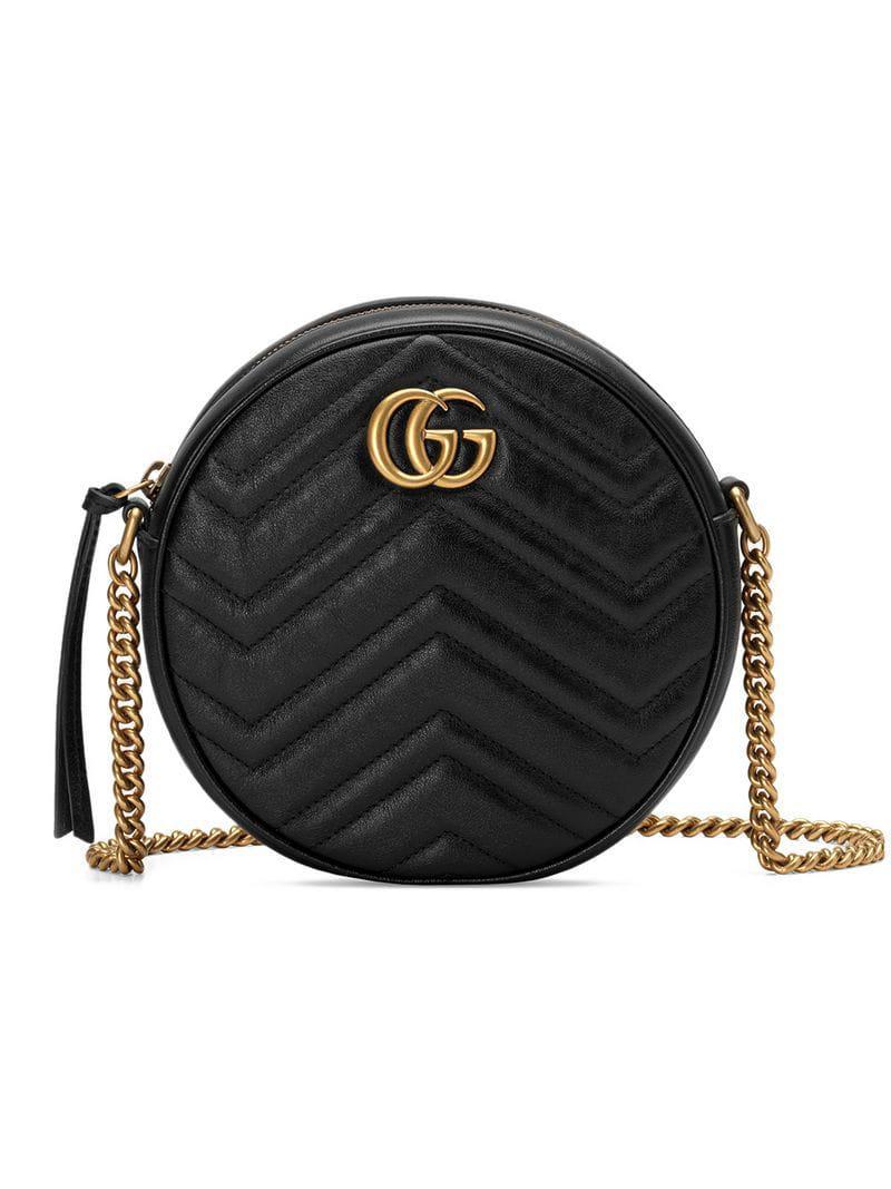 87c10d3c0 Lyst - Gucci Runde GG Marmont Mini-Schultertasche in Schwarz