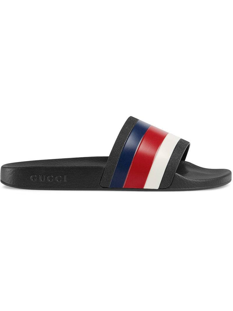 5c8a71298a75 Lyst - Gucci Rubber Slide Sandals in Black for Men - Save 4%