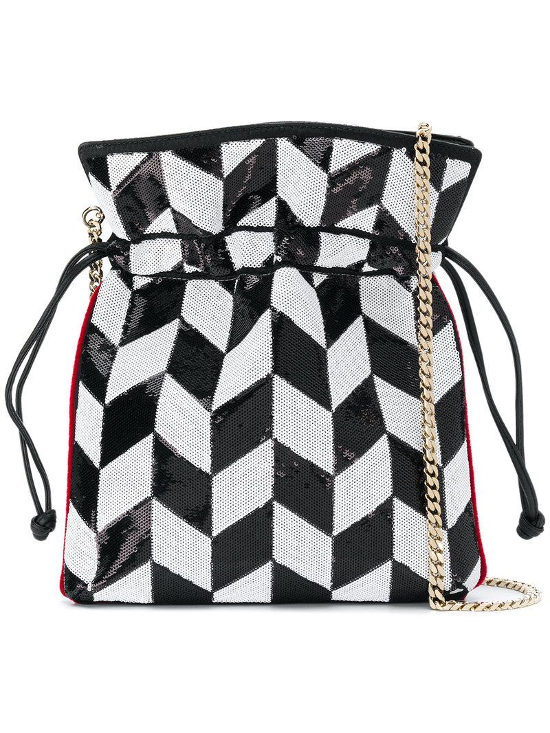 Les Petits Joueurs Sequined chevron-style drawstring satchel RieDX5b0V