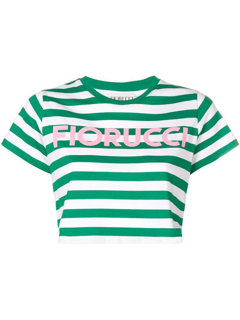 ef5d37db37a Fiorucci Striped Crop T-shirt in Green - Save 17% - Lyst