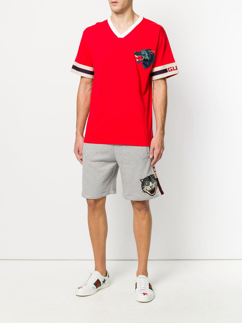 5c1704058dc2 Gucci Wolf Head Embroidered T-shirt in Red for Men - Lyst
