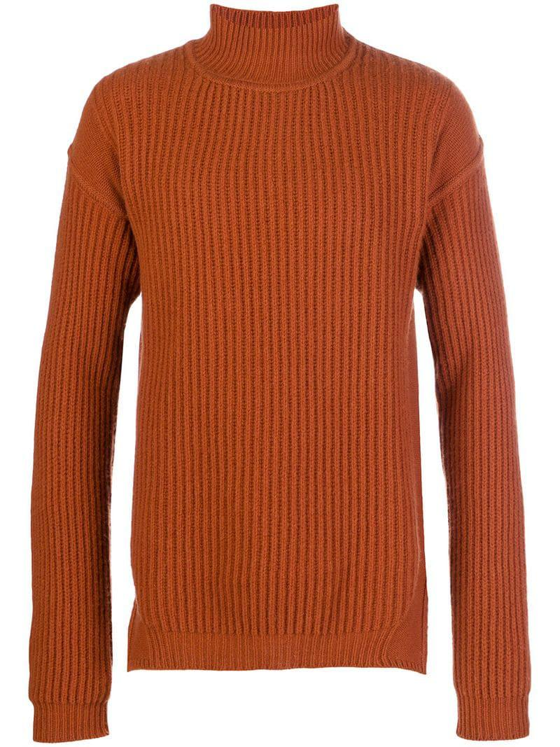 Rick Owens Fisherman Turtleneck Sweater In Orange For Men Lyst