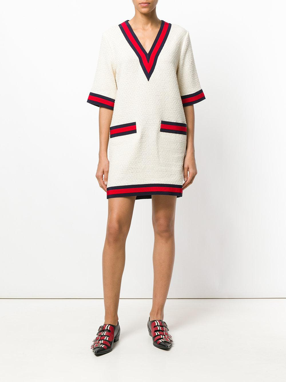 5bbb3edd6 Gucci Cotton-blend Sweater Dress in White - Lyst