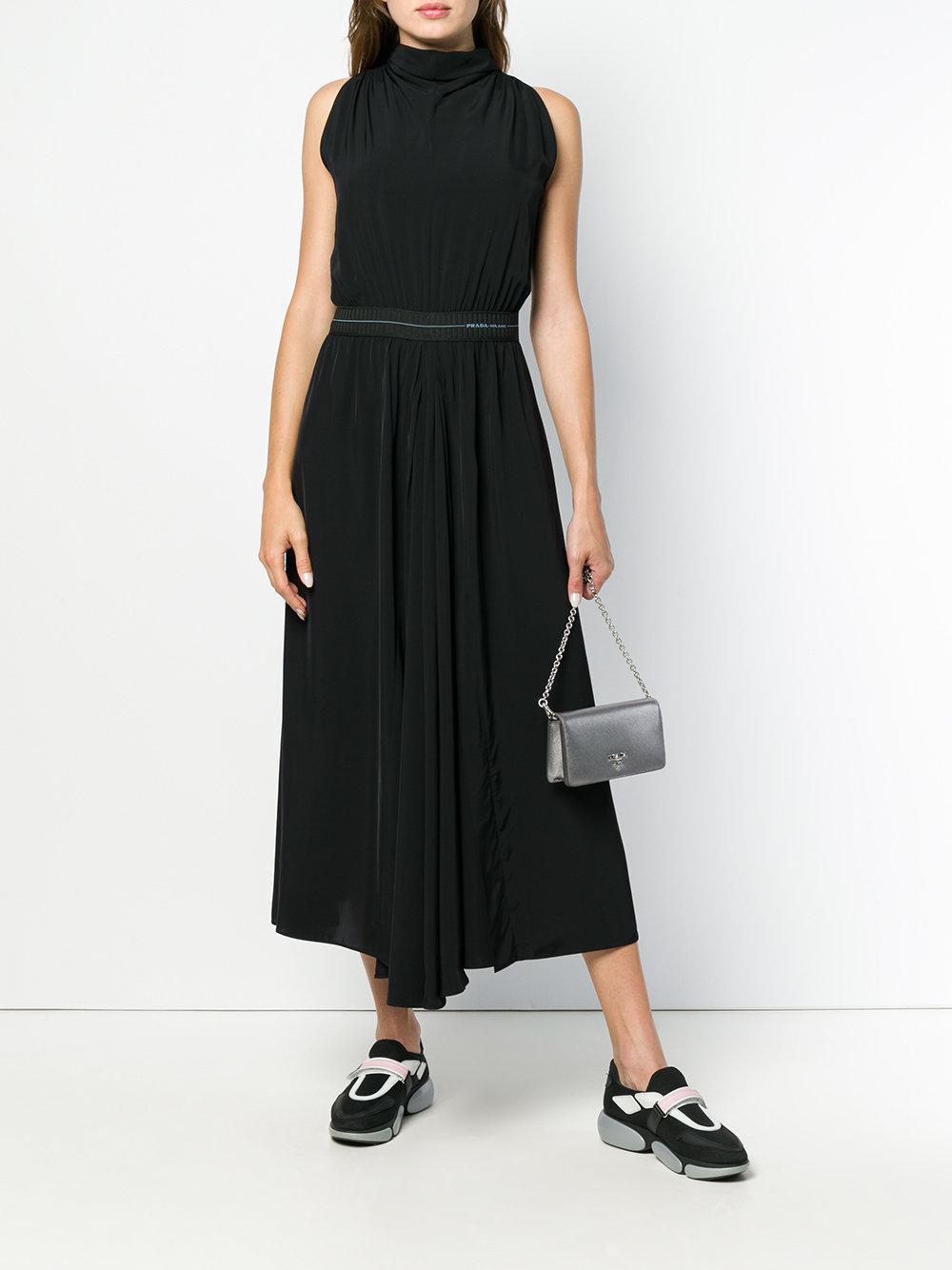 sleeveless flared midi dress - Black Prada tlzws