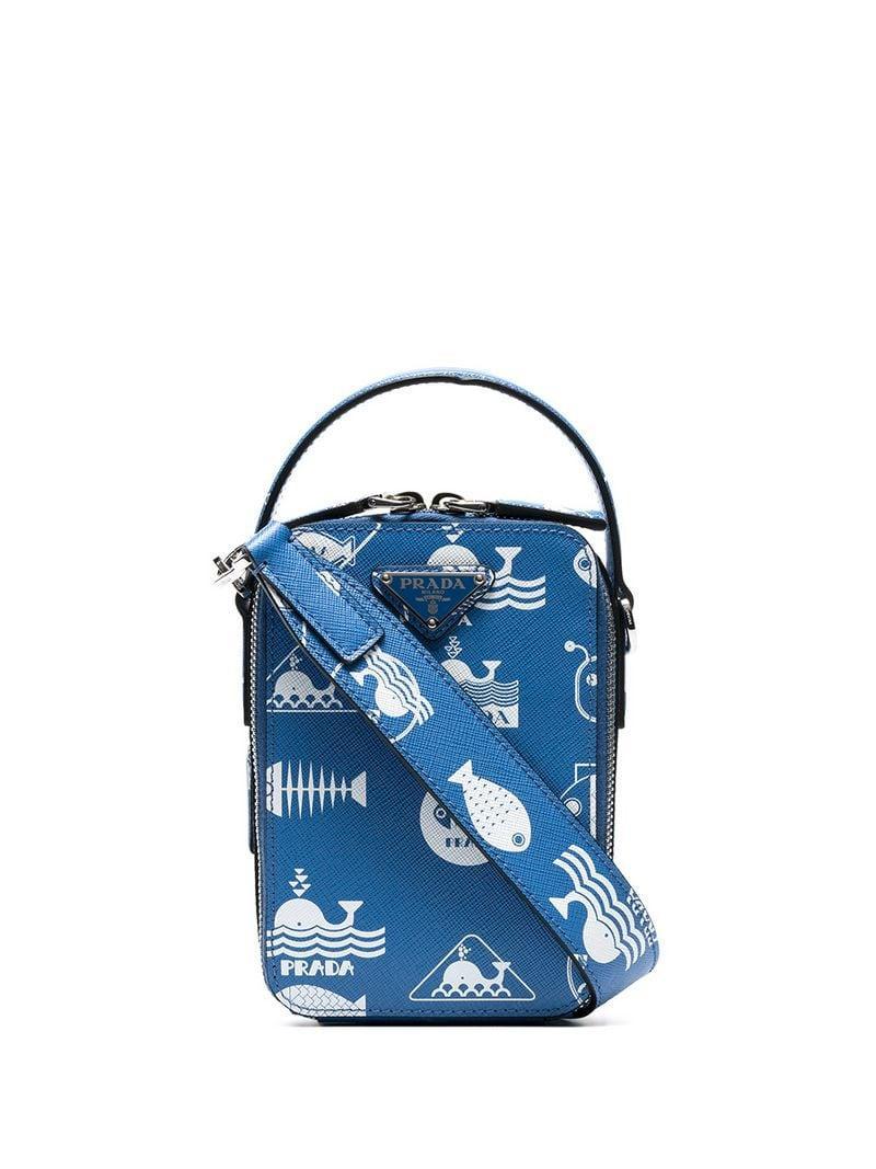 Prada - Blue Fish Print Leather Cross Body Bag for Men - Lyst. View  fullscreen 6d937f3917204