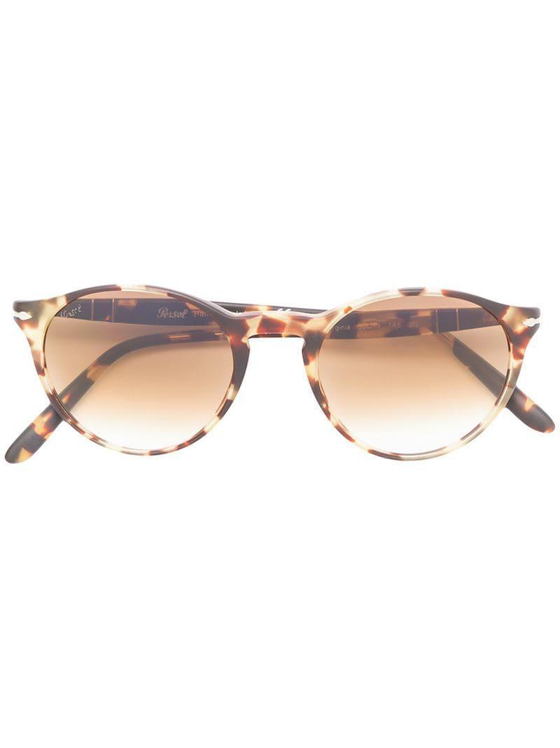 640ec8c1dfbcf Lyst - Persol Round Frame Sunglasses in Brown