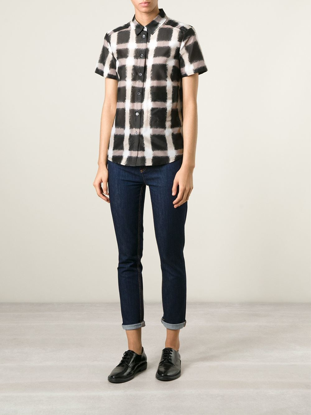 Marc by marc jacobs Blurred Gingham-Print Shirt in Black ...