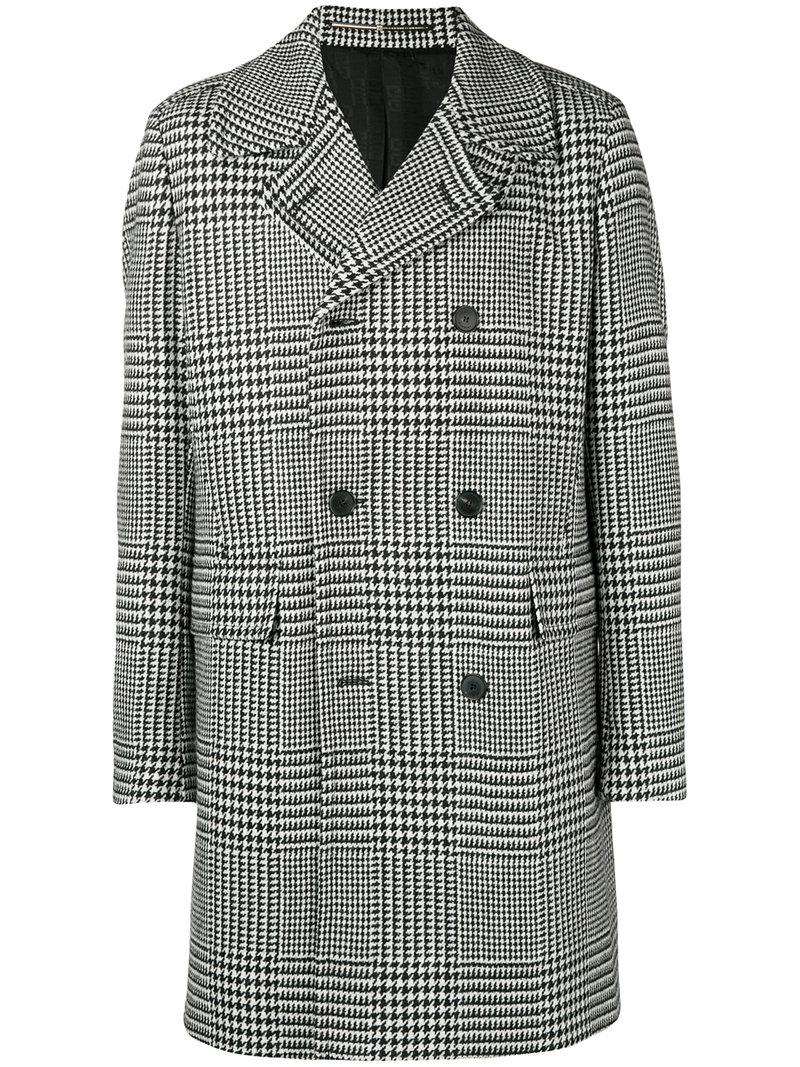 7bac5422fde4 Givenchy Houndstooth Double-breasted Coat in Black for Men - Lyst