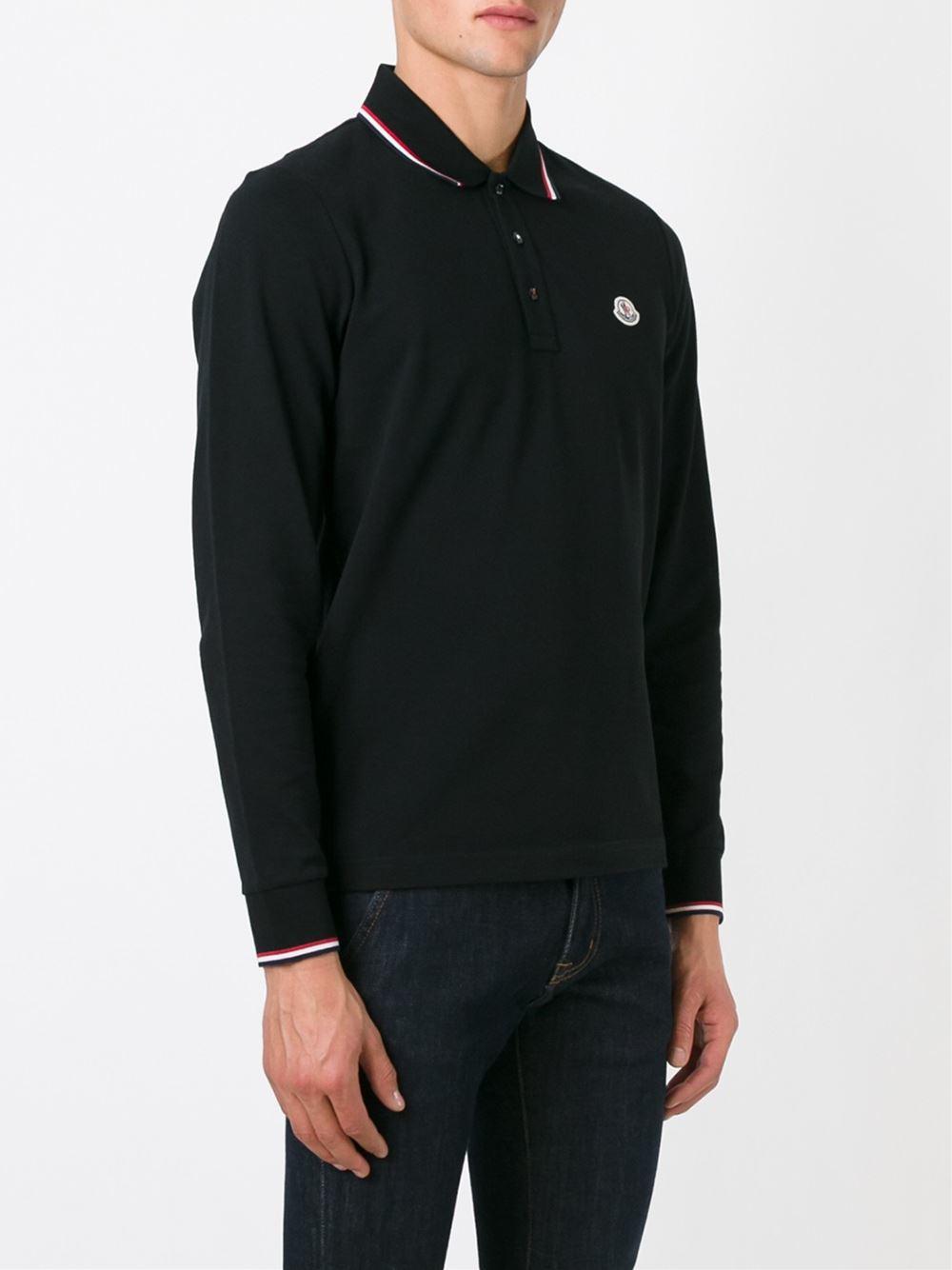 Moncler Long Sleeve Polo Shirt In Black For Men Lyst