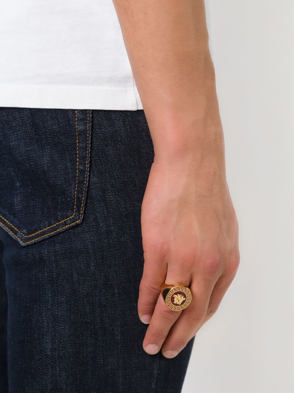 Lyst Versace Medusa Ring In Red