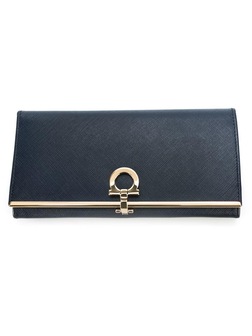 Ferragamo Gancio Flap Wallet In Blue Lyst