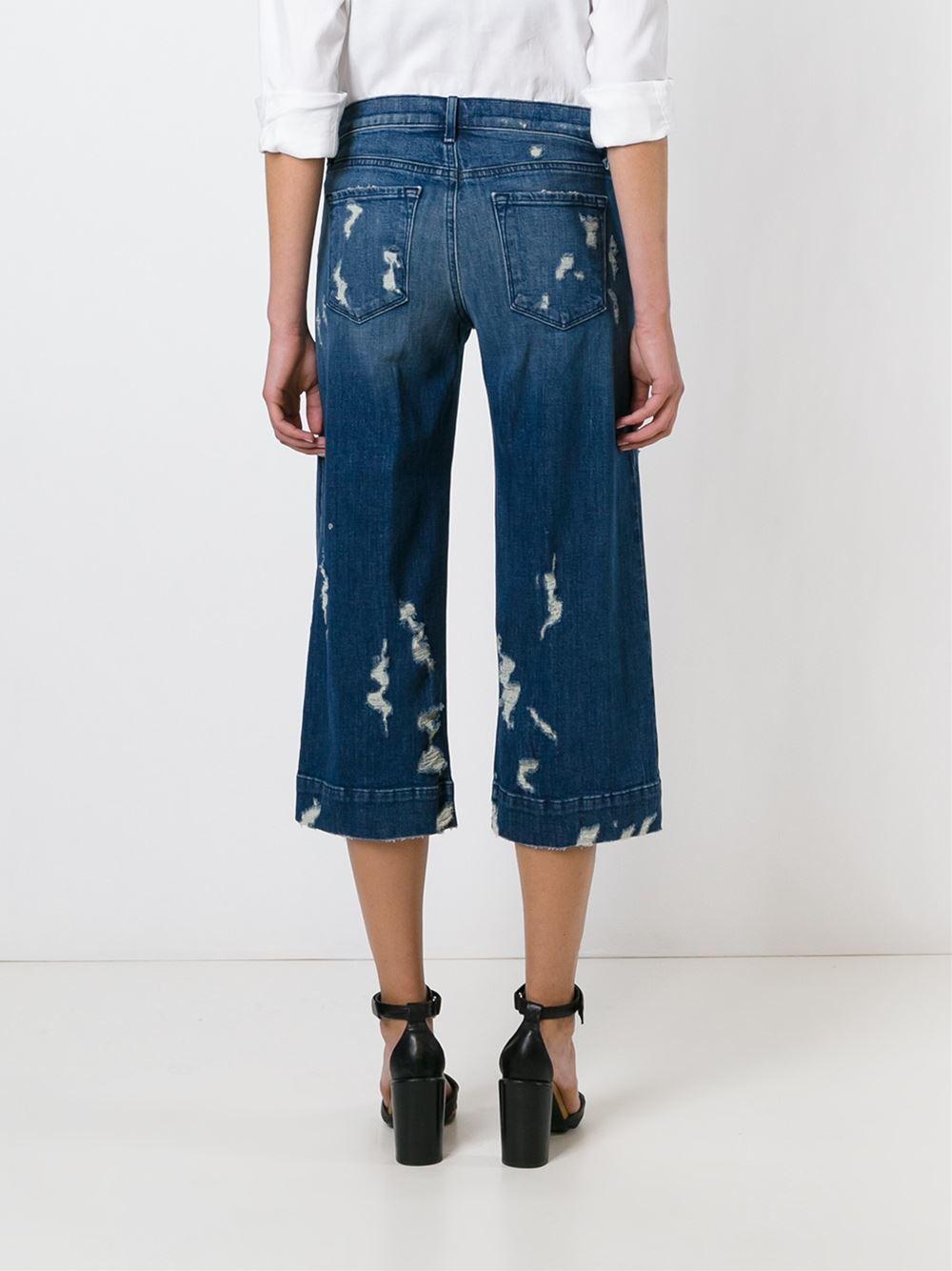 j brand 39 liza 39 denim culottes women cotton spandex elastane 28 in blue lyst. Black Bedroom Furniture Sets. Home Design Ideas