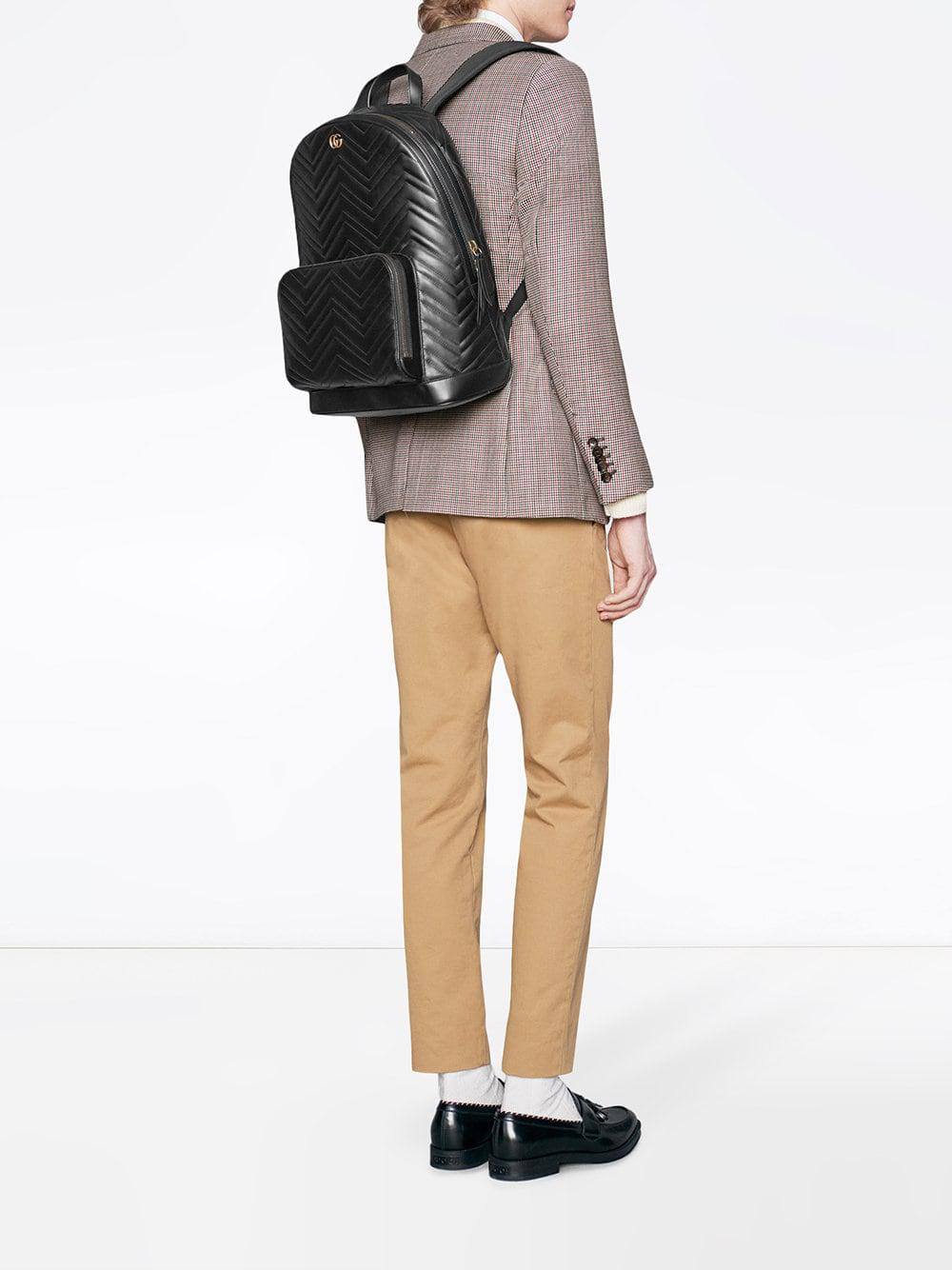 bfe020ff12a3 Lyst - Gucci GG Marmont Matelassé Backpack in Black for Men - Save 22%