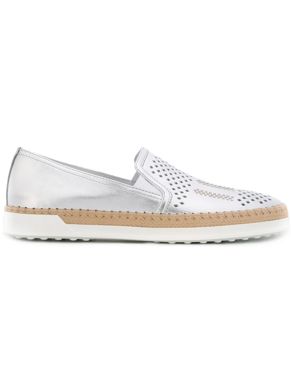 tod s slip on shoes in metallic lyst