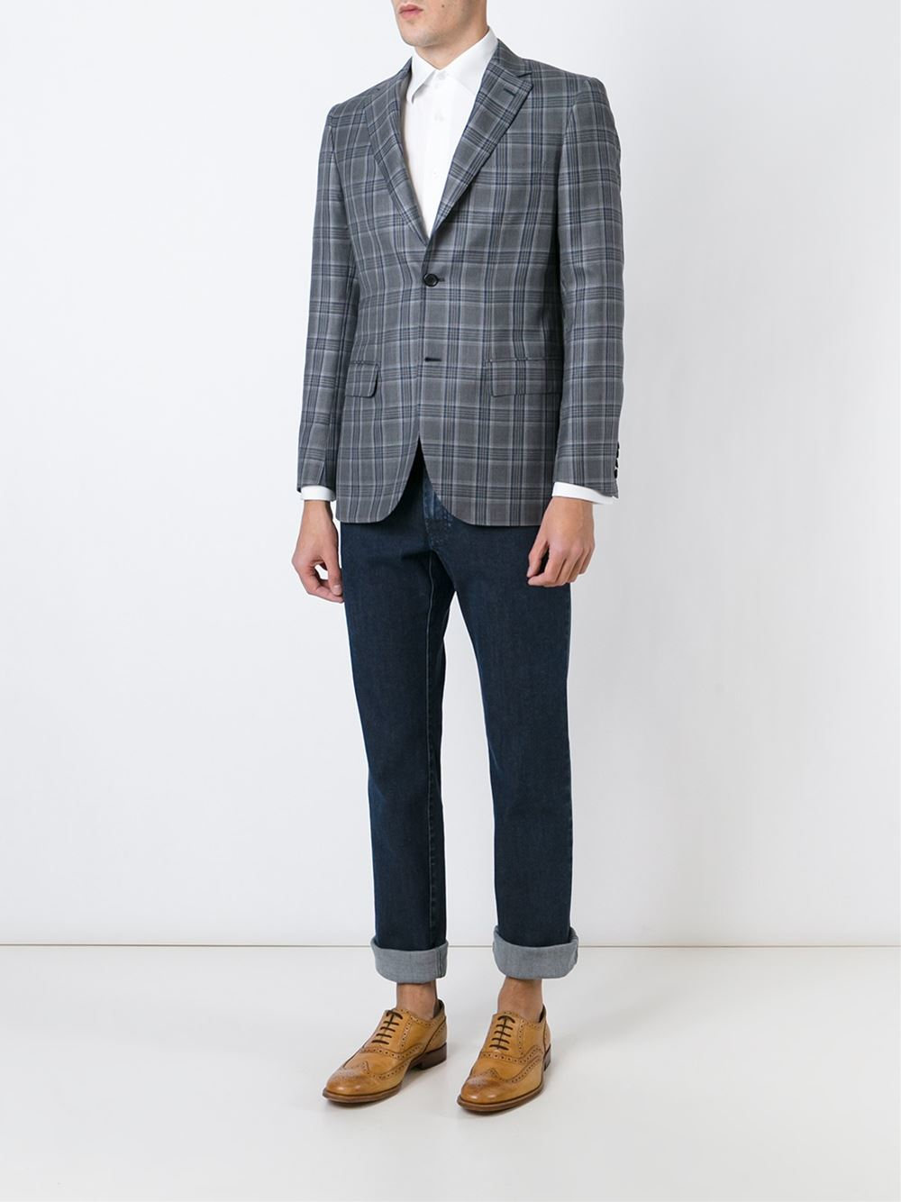 Brioni Check Print Blazer In Gray For Men Lyst