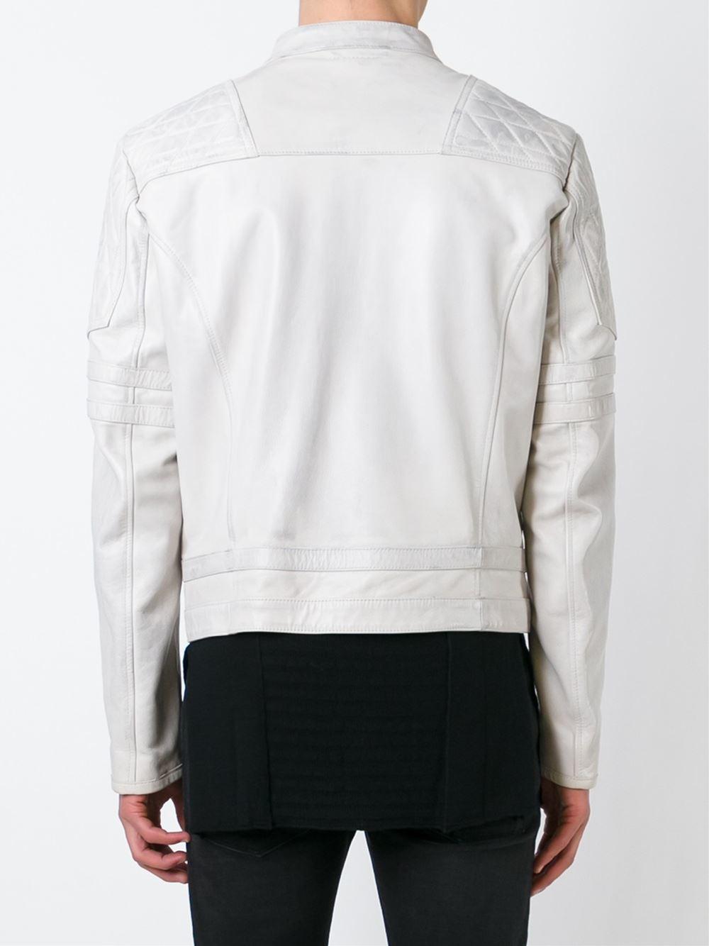 Diesel Black Gold Quilted Shoulder Leather Jacket In Beige For Men Nude  Neutrals -9364