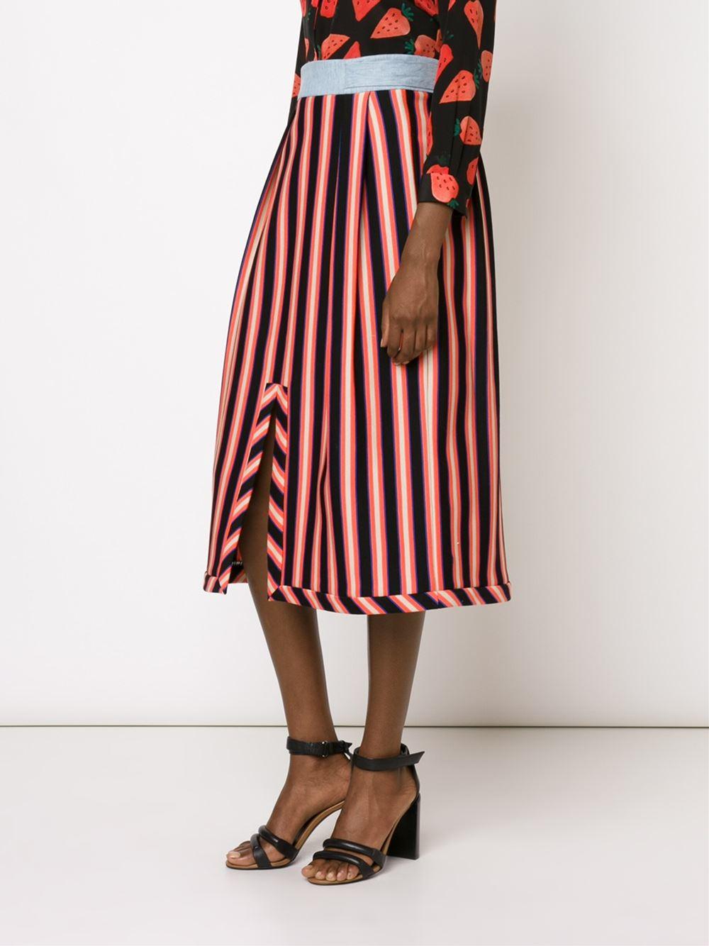 novis striped pleated skirt in blue lyst