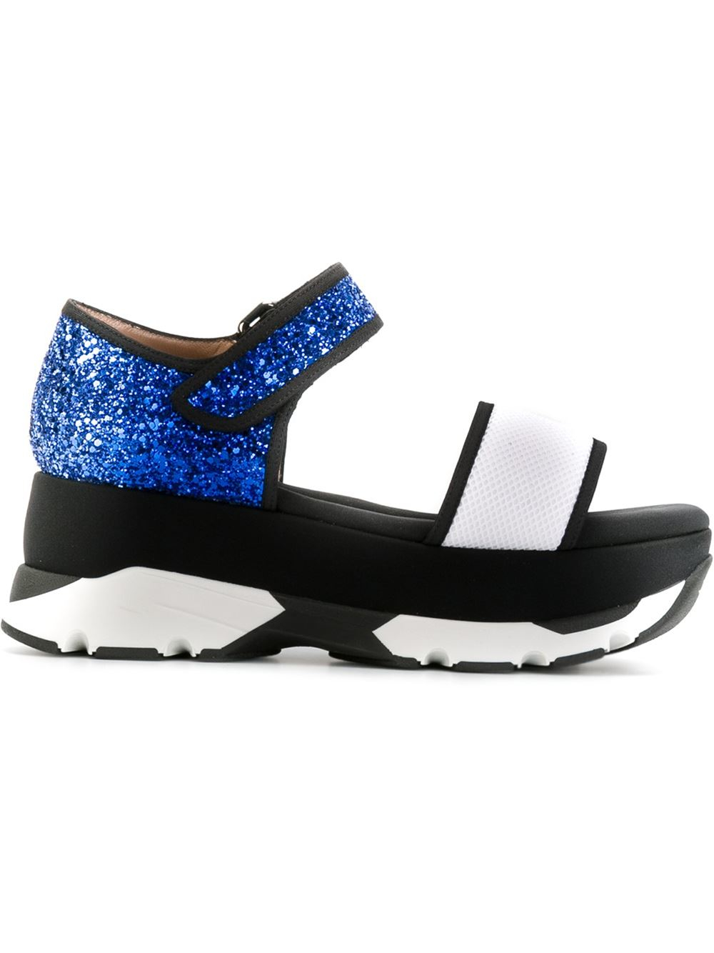 marni glitter platform sandals in black lyst