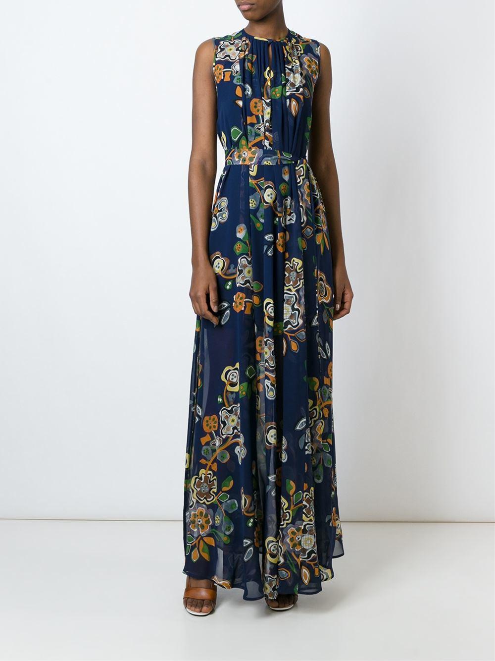Lyst Msgm Belted Floral Print Dress Women Silk