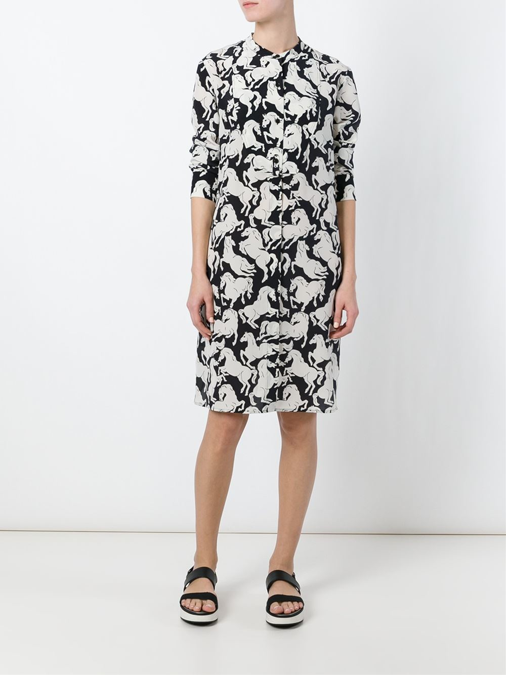 stella mccartney horse print silk shirt dress in black lyst