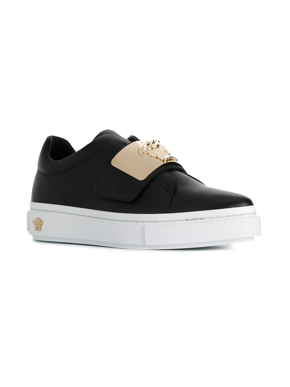versace velcro fastening sneakers in black lyst. Black Bedroom Furniture Sets. Home Design Ideas