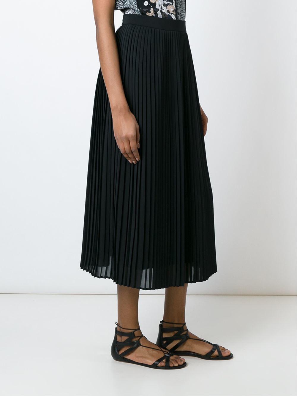 kenzo pleated midi skirt in black lyst