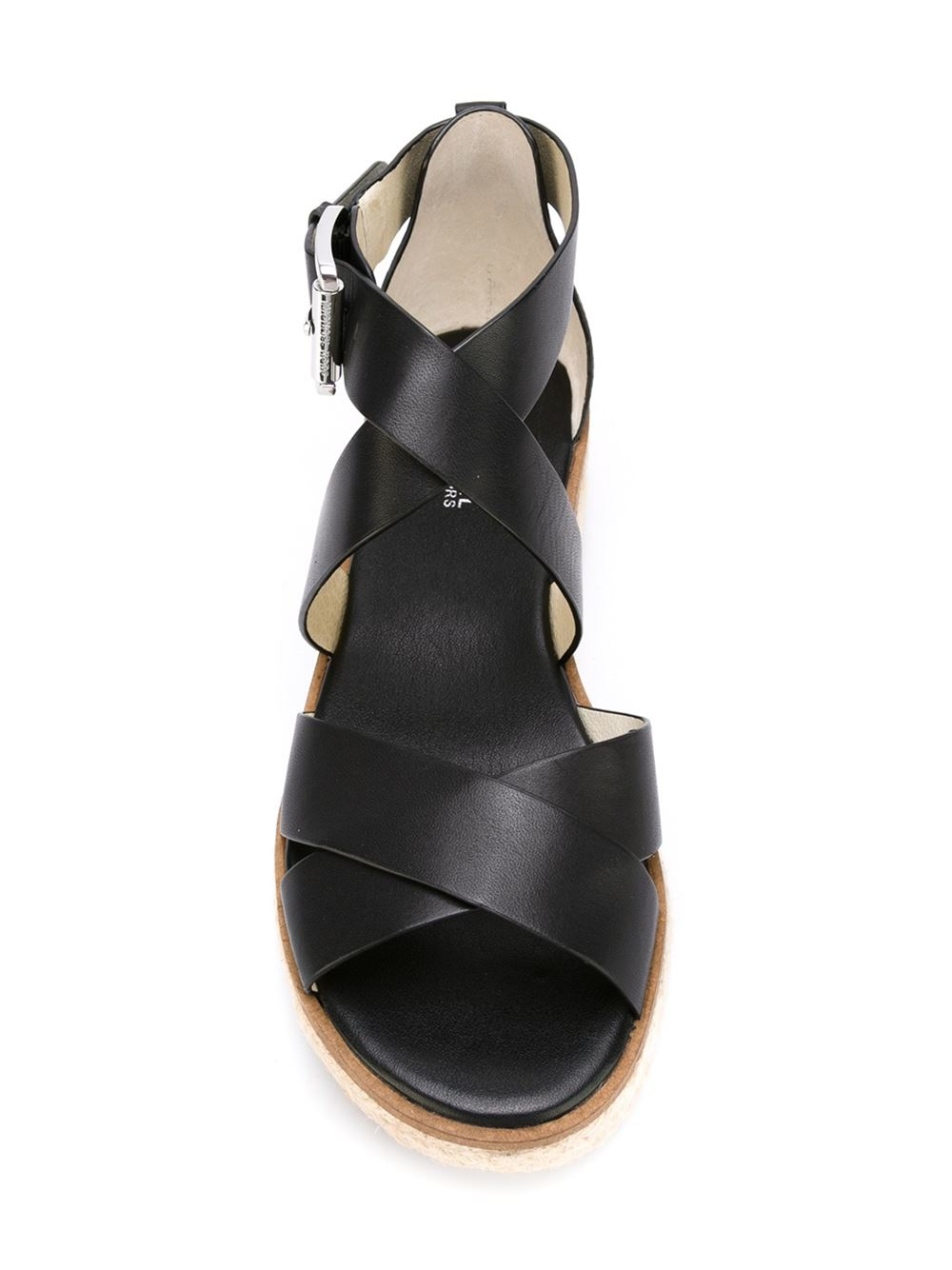 michael michael kors learger wedge sandals in black lyst