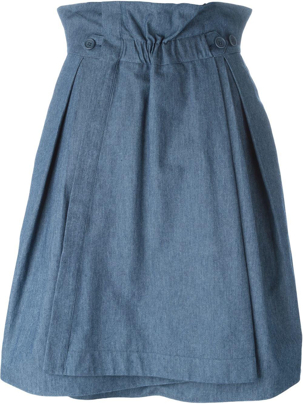 jil sander navy a line wrap skirt in blue lyst
