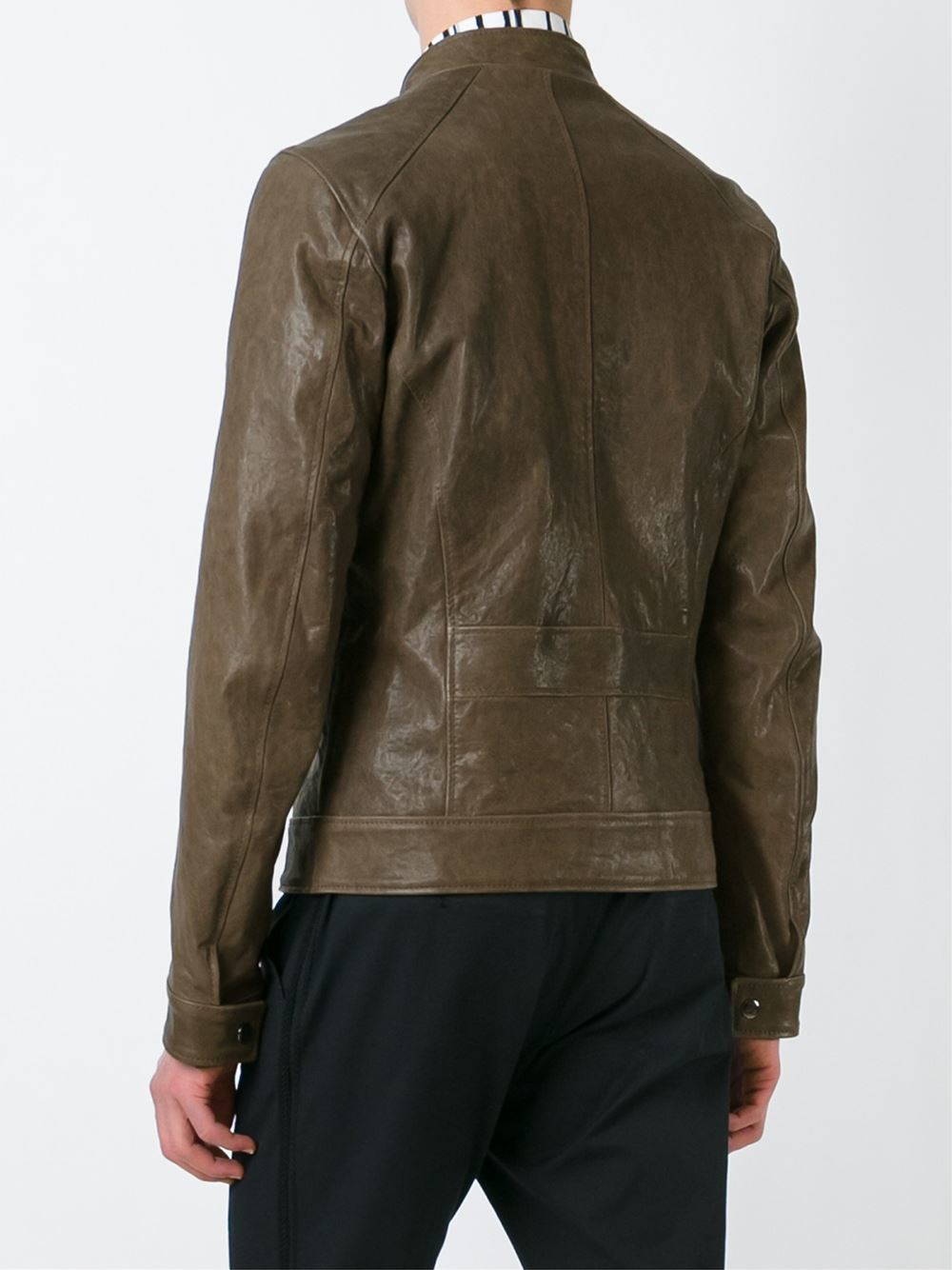 Lyst Dolce Amp Gabbana Leather Jacket In Brown For Men