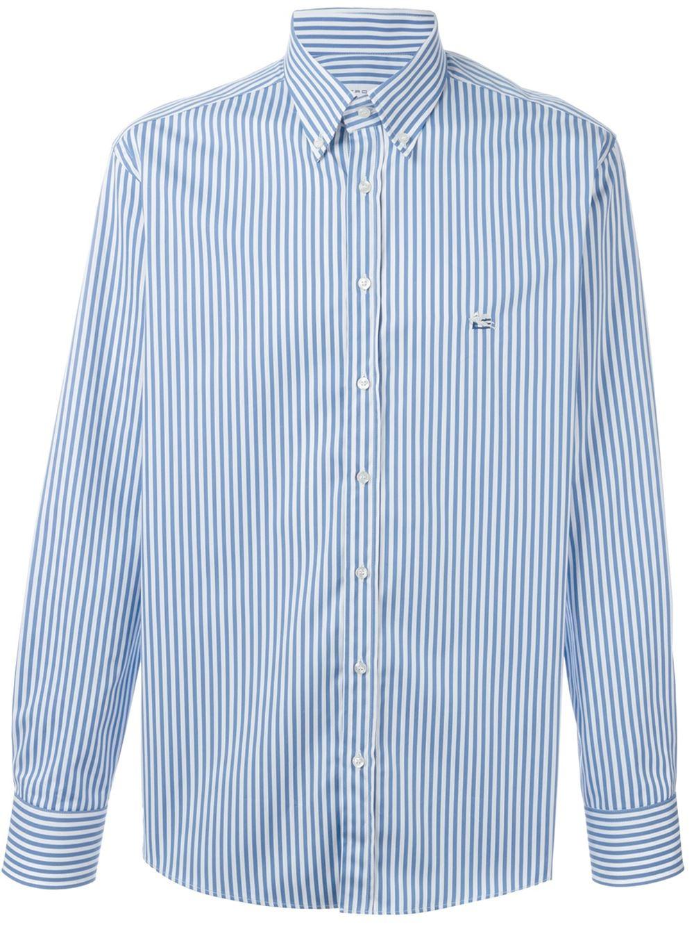 Lyst etro striped button down shirt in blue for men for Striped button down shirts for men