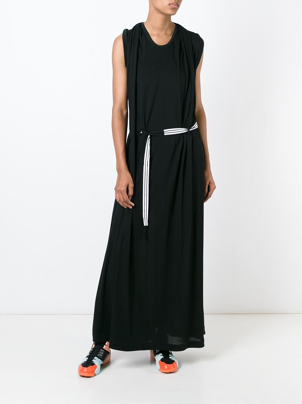 y 3 belted jersey maxi dress in black lyst