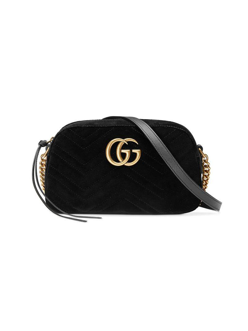 d215556ac273 Gucci GG Marmont Velvet Small Shoulder Bag in Black - Save 14% - Lyst