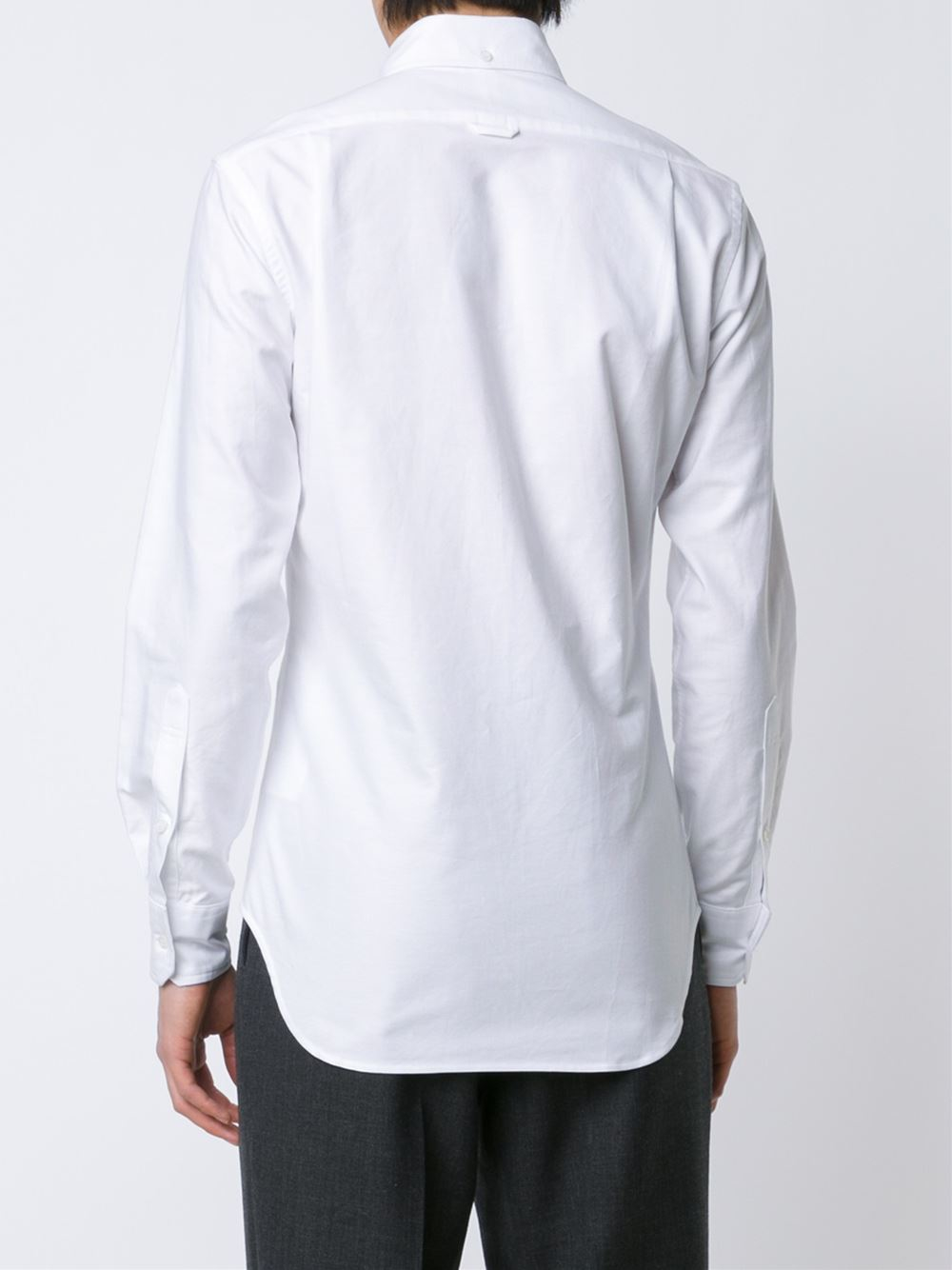 Thom browne button down embroidered shirt in white for men