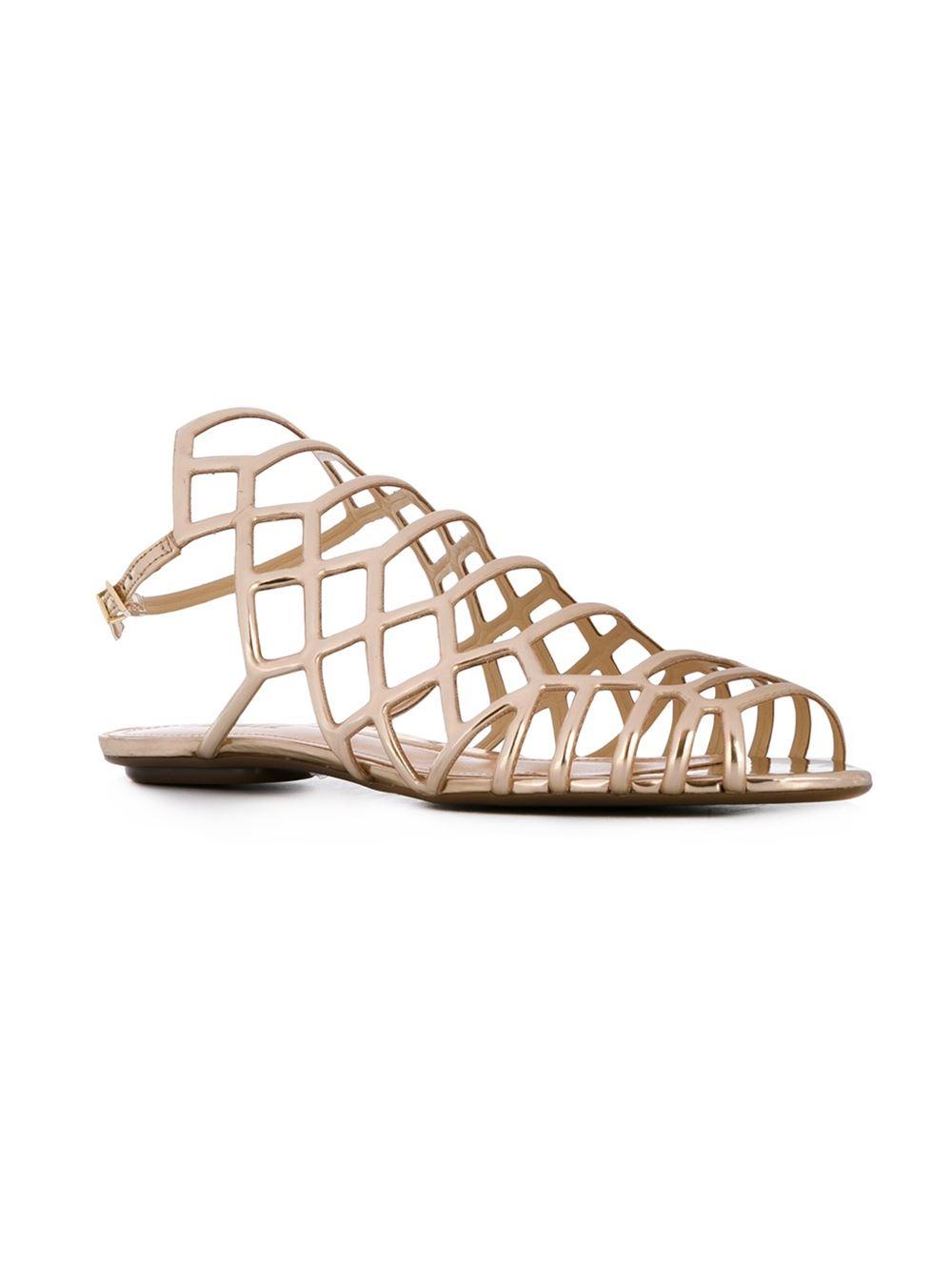 Lyst Schutz Strappy Flat Sandals In Metallic